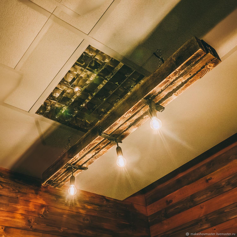 Люстра в стиле лофт обожённая из состаренного дерева с тремя лампам, Люстры, Москва,  Фото №1