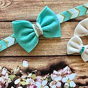 Работы для детей, handmade. Livemaster - original item Set of pins-bows and headband-the bow on a stretchy elastic band. Handmade.
