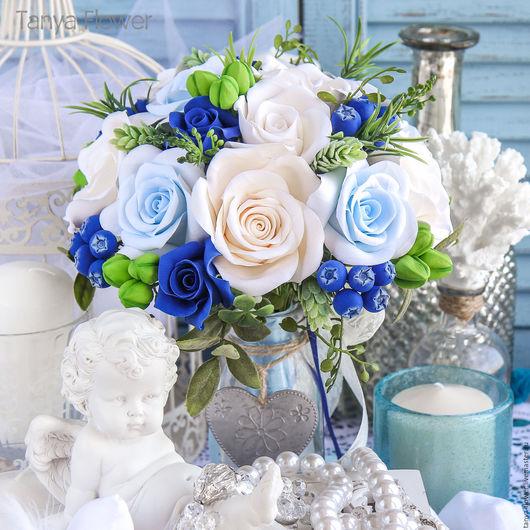 Свадебные цветы ручной работы. Ярмарка Мастеров - ручная работа. Купить Свадебный букет невесты с розами и голубикой. Handmade.