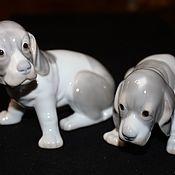 Винтаж handmade. Livemaster - original item A charming pair of figures puppies the Basset hound, German. Handmade.