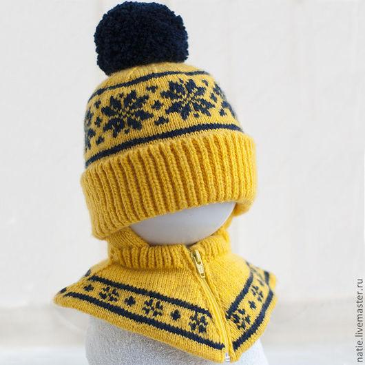 Шапки и шарфы ручной работы. Ярмарка Мастеров - ручная работа. Купить Детская двойная шапка-шлем. Handmade. Желтый
