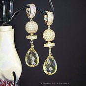 Украшения handmade. Livemaster - original item Earrings with lemon Topaz, 14k Goldfield