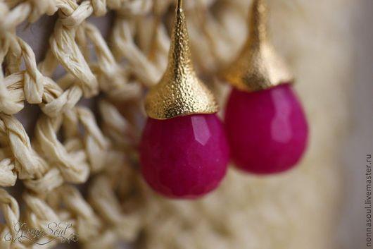 Серьги ручной работы. Ярмарка Мастеров - ручная работа. Купить Серьги-желуди с малиновым жадеитом (маленькие). Handmade. Фуксия, жадеит