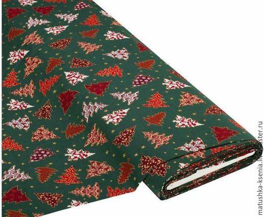 """Шитье ручной работы. Ярмарка Мастеров - ручная работа. Купить Ткань Германия """"Елки зеленый"""" Рождество Новый год для тильды пэчворк. Handmade."""