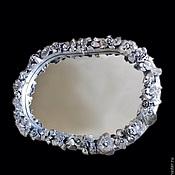 """Для дома и интерьера ручной работы. Ярмарка Мастеров - ручная работа """"Серебро в интерьере"""" овальное зеркало в багете hendmeyd. Handmade."""
