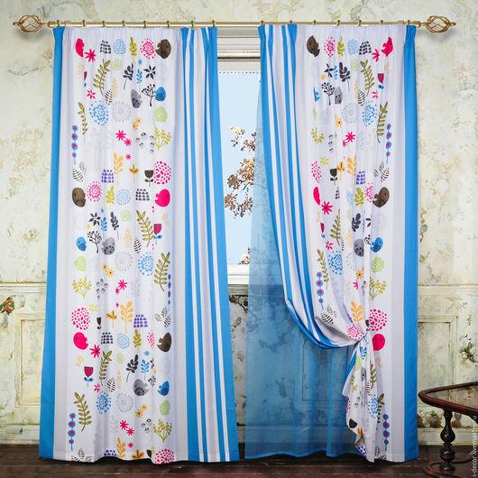 Шторы с вуалью в детскую. Детские шторы `Коллаж`.