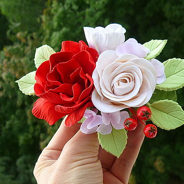 Decorations handmade. Livemaster - original item Automatic hair clip with Rose and Gardenia.. Handmade.