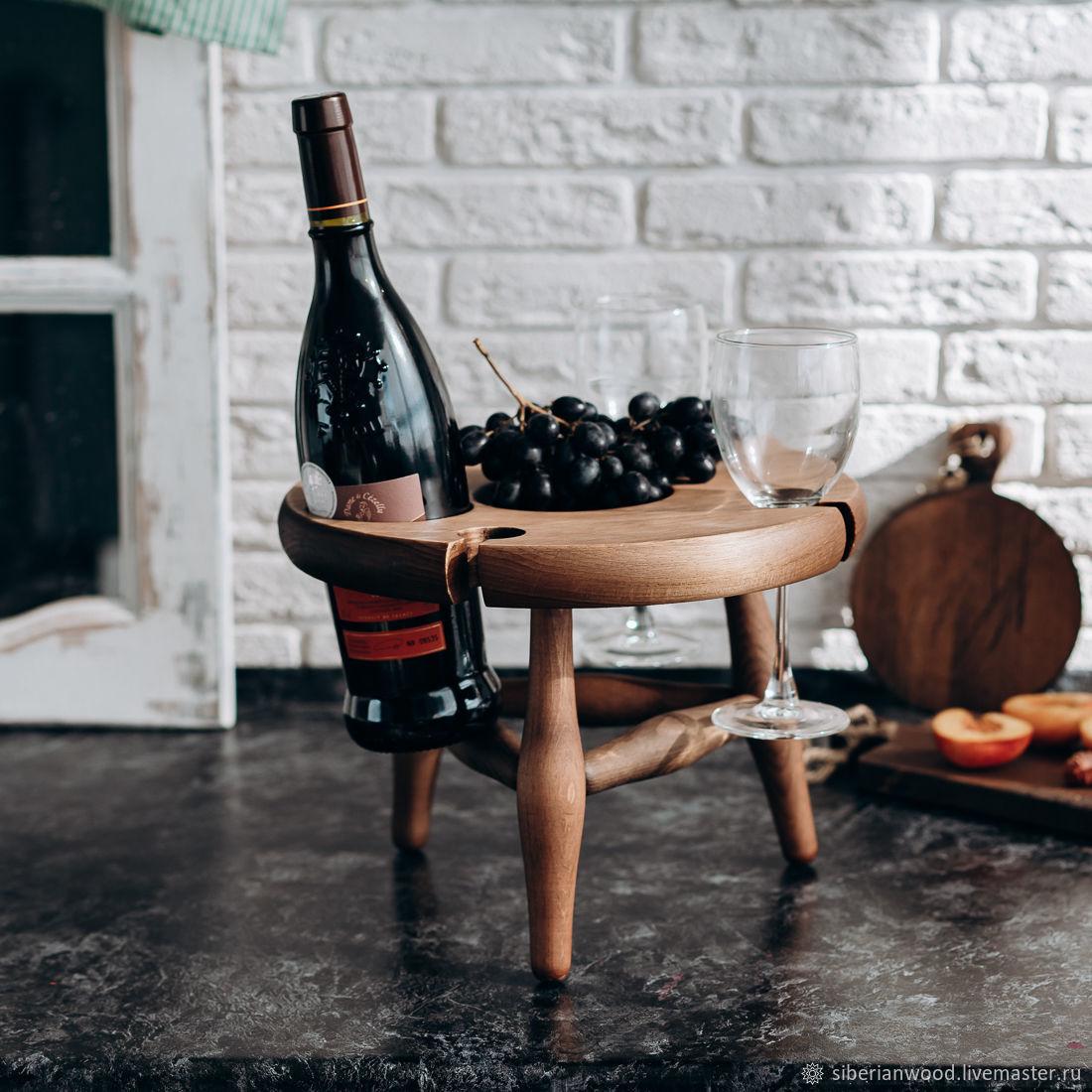 Винный столик из сибирского кедра VN5, Подносы, Новокузнецк,  Фото №1