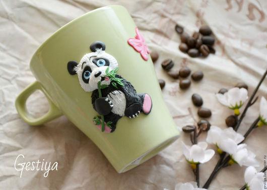 """Кружки и чашки ручной работы. Ярмарка Мастеров - ручная работа. Купить Кружка с декором """"Панда"""". Handmade. Комбинированный, панда"""