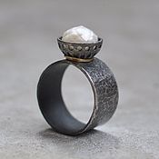 Украшения handmade. Livemaster - original item Ring with faceted pearls, silver and Goldfield. Handmade.