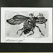 """Картины и панно ручной работы. Ярмарка Мастеров - ручная работа Картина """"Майский жук"""" офорт рисунок графика гравюра. Handmade."""