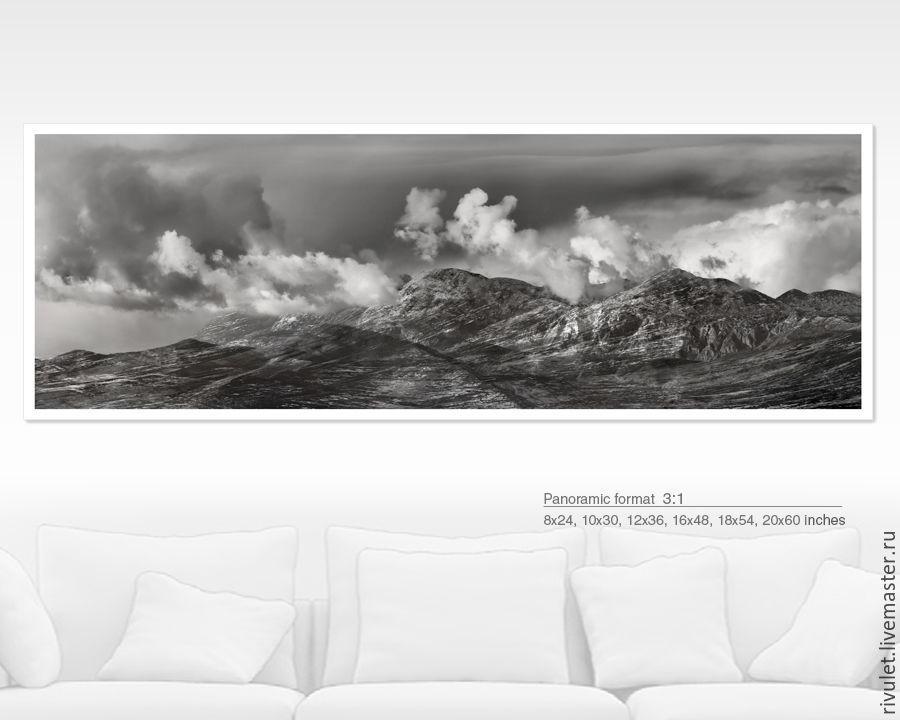 Панорама для интерьера, Фото картина горы купить в Москве, черно белая Картина природы,  Авторская фотокартина горный пейзаж на стену купить , «Там где облака» Eлена Ануфриева