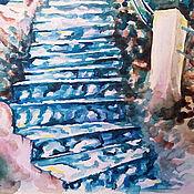 """Картины и панно ручной работы. Ярмарка Мастеров - ручная работа Картина акварелью """"Бирюзовая лестница"""". Handmade."""