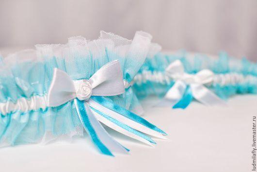 """Одежда и аксессуары ручной работы. Ярмарка Мастеров - ручная работа. Купить """"Тиффани"""" - бирюзово-голубой комплект свадебных подвязок. Handmade."""