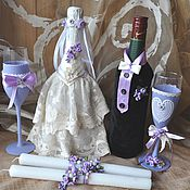 """Свадебный салон ручной работы. Ярмарка Мастеров - ручная работа """"Лавандовая свадьба"""" декор бутылок. Handmade."""