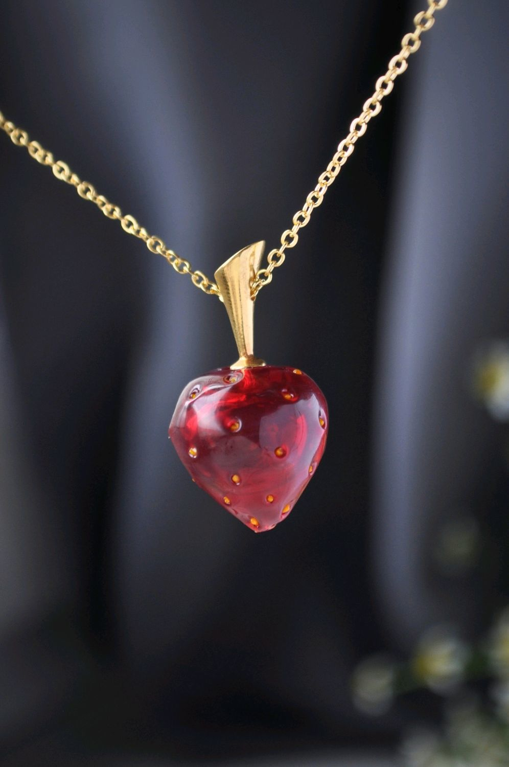 Red strawberry pendant on a chain, Pendant, Moscow,  Фото №1
