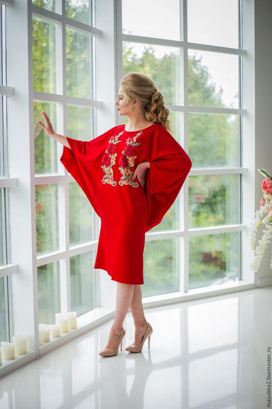 """Платья ручной работы. Ярмарка Мастеров - ручная работа. Купить Платье """"Пламенное сердце"""". Handmade. Красное платье, свободный крой"""