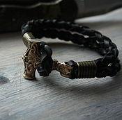 Украшения handmade. Livemaster - original item Leather raclet with the hammer of Thor. Handmade.