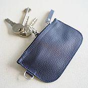 Сумки и аксессуары handmade. Livemaster - original item Key holder made of genuine leather (Dark blue). Handmade.