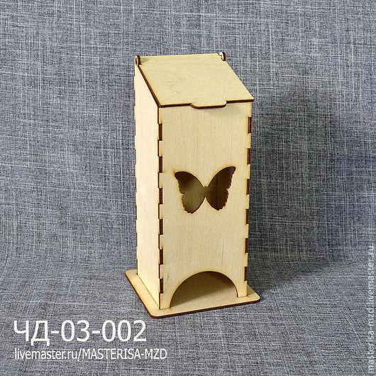 ЧД-03-002. Чайный домик с откидной крышкой. Форма окна - бабочка. Материал: фанера 3 мм сорт 2/2