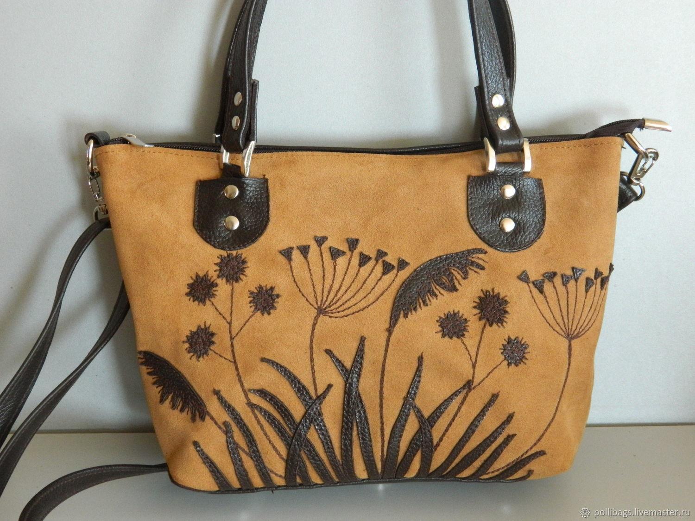 Bag leather women's Bag with applique Grass, Classic Bag, Krasnodar,  Фото №1
