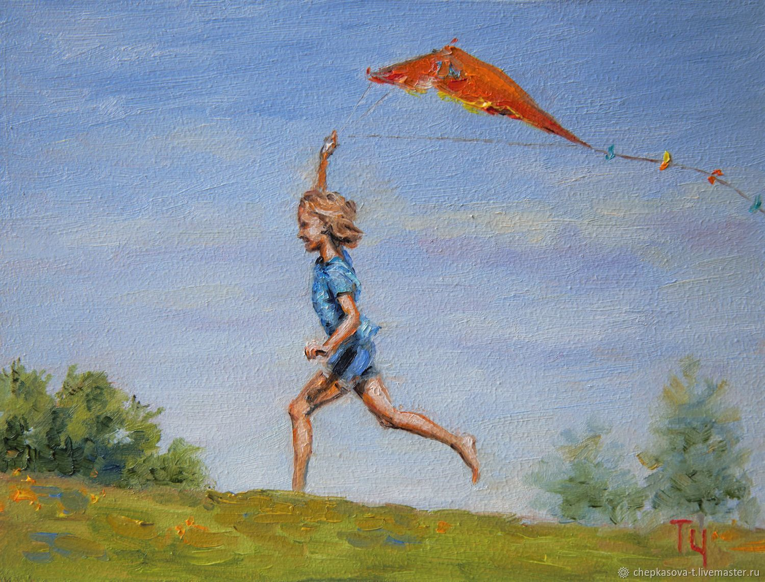 Miniature ' Kite'. Oil painting, Pictures, Moscow,  Фото №1