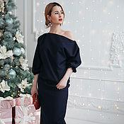Одежда ручной работы. Ярмарка Мастеров - ручная работа Платье с кружевом темно-синее. Handmade.