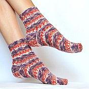 Аксессуары ручной работы. Ярмарка Мастеров - ручная работа Вязаные шерстяные носки - арт. Ягодный джем женские полосатые носки. Handmade.
