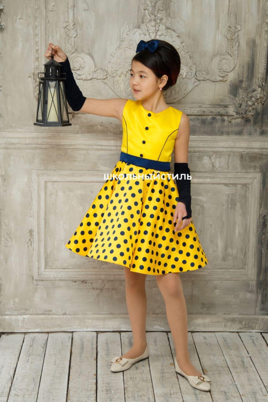 Желтое Нарядное детское платье Стиляги в горох, Платья, Москва,  Фото №1