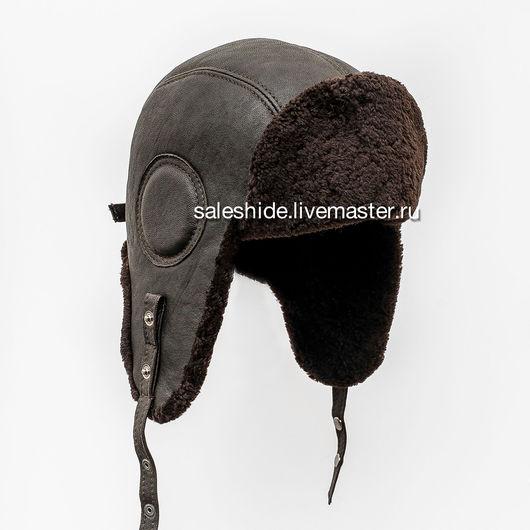 Шапки ручной работы. Ярмарка Мастеров - ручная работа. Купить Мужской шлем Авиатор из меха овчины и натуральной оленины. Handmade.