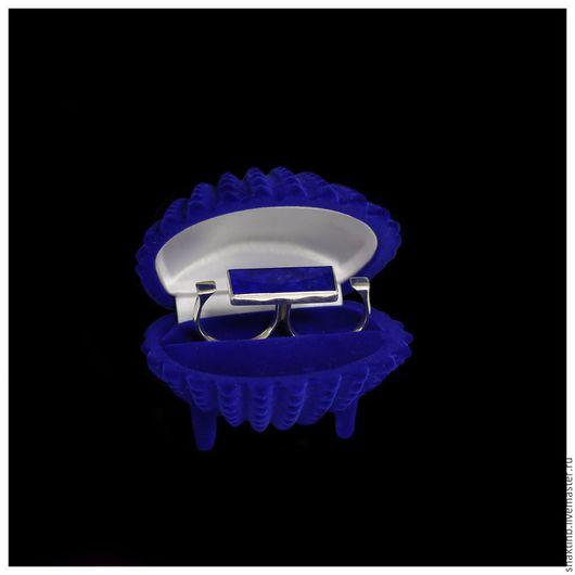 Кольца ручной работы. Ярмарка Мастеров - ручная работа. Купить Двойное кольцо унисекс с лазуритом. Handmade. Тёмно-синий