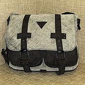 Men\`s bag handmade. Livemaster - original item Messenger bag men`s GRANITE grey and black suede. Handmade.