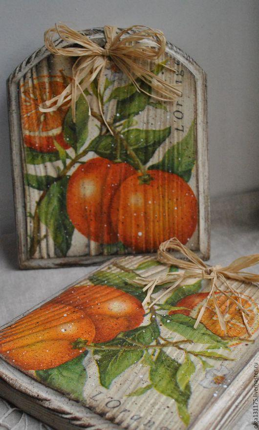 """Кухня ручной работы. Ярмарка Мастеров - ручная работа. Купить Сырные досочки """"Апельсинки"""". Handmade. Оранжевый, доска декупаж"""