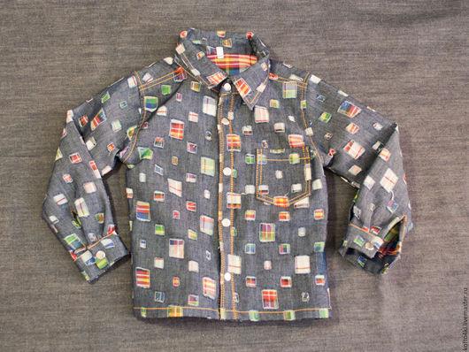 """Одежда для мальчиков, ручной работы. Ярмарка Мастеров - ручная работа. Купить Рубашка джинсовая в """"заплатках"""". Handmade. Желтый, рубашка джинсовая"""