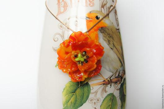 Кулоны, подвески ручной работы. Ярмарка Мастеров - ручная работа. Купить Подвеска Тюльпан. Handmade. Оранжевый, кулон лэмпворк, Лампворк