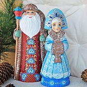 Подарки к праздникам handmade. Livemaster - original item grandfather frost and snow maiden . Carved,painted. Option 2. Handmade.