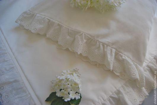 Текстиль, ковры ручной работы. Ярмарка Мастеров - ручная работа. Купить Комплект постельного белья с хлопковым кружевом в ретро стиле. Handmade.
