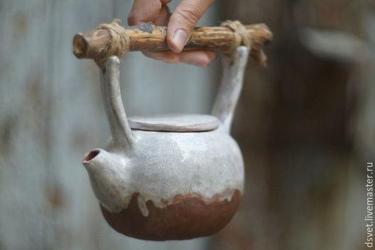 Чайники, кофейники ручной работы. Ярмарка Мастеров - ручная работа. Купить Чайник керамический с веткой. Handmade. Комбинированный, чайник керамический
