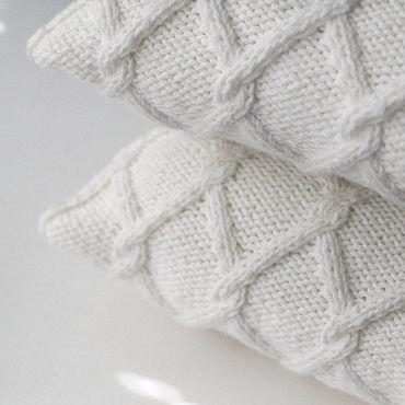 Textiles handmade. Livemaster - original item Knitted pillow Milk. Handmade.