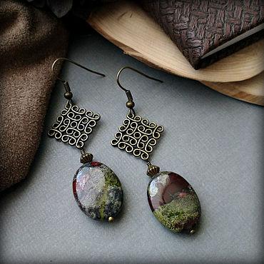 Decorations handmade. Livemaster - original item Earrings with natural Jasper, bronze color.. Handmade.
