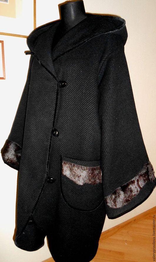 Большие размеры ручной работы. Ярмарка Мастеров - ручная работа. Купить Пальто далфкот. Handmade. Черный, зима, пальто женское