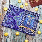 Сова обложка кожаная на паспорт с точечной росписью