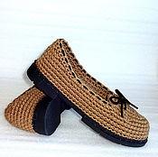 Обувь ручной работы. Ярмарка Мастеров - ручная работа Мокасины вязаные, коричневый, лен, р.40. Handmade.