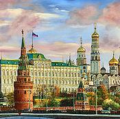 """Картина маслом """"Утро красит нежным светом стены древнего Кремля"""""""