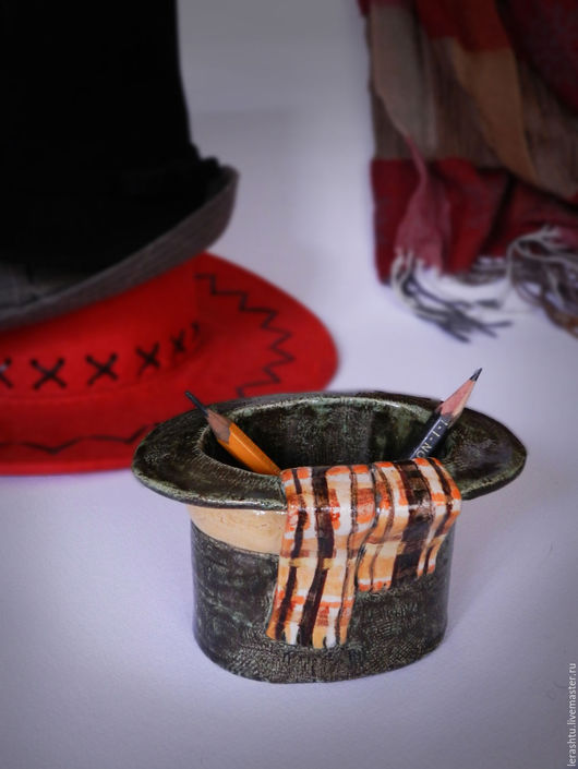 """Вазы ручной работы. Ярмарка Мастеров - ручная работа. Купить карандашница """"шляпка"""". Handmade. Комбинированный, стакан для карандашей, вазочка, шарф"""