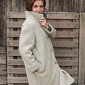 Одежда ручной работы. Ярмарка Мастеров - ручная работа Серое зимнее утеплённое пальто из фактурной шерсти, свободный силуэт. Handmade.