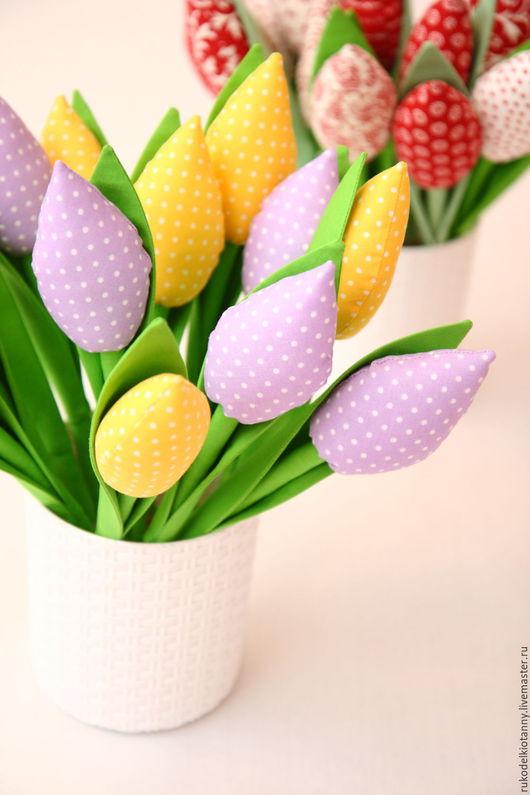 Цветы ручной работы. Ярмарка Мастеров - ручная работа. Купить Тюльпаны текстильные. Handmade. Разноцветный, мягкие игрушки, тюльпаны