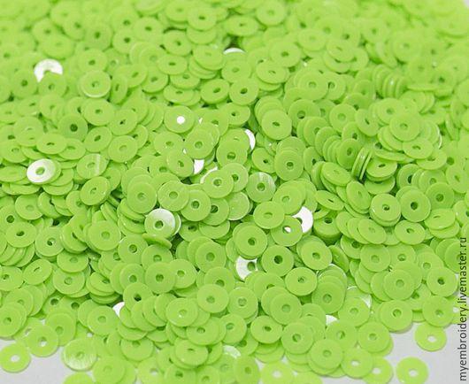 Вышивка ручной работы. Ярмарка Мастеров - ручная работа. Купить Пайетки 4 мм плоские. Handmade. Ярко-зелёный