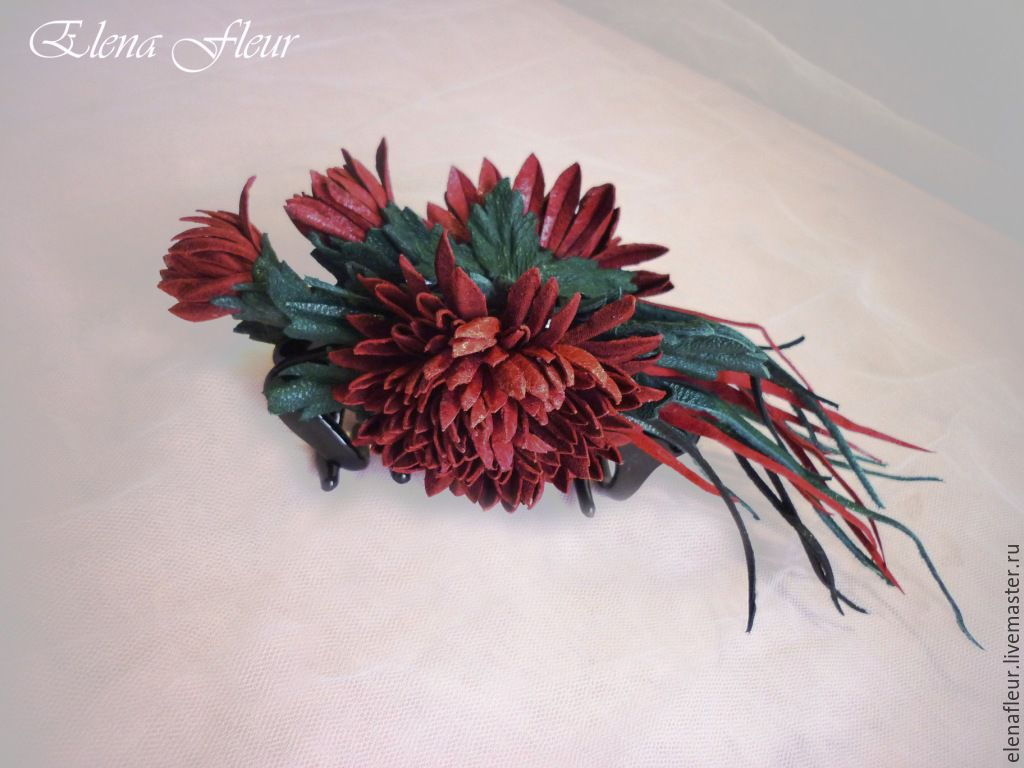 """Leather barrette """" Chrysanthemum. Queen of fall"""" Flowers from the skin, Hairpins, Nizhny Novgorod,  Фото №1"""
