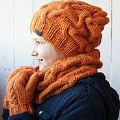 "Вязаная шапка и снуд ""Orange"""